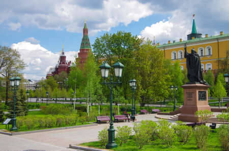 MOSCOW, RUSSIA - MAY, 2016: Alexander Garden and Moscow kremlin in spring day