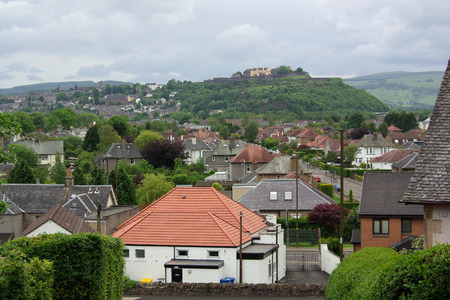 STIRLING, SCOTLAND - June, 2013:  Top view on residential quarters of the city