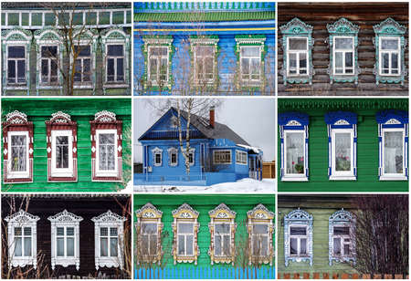 YAROSLAVL REGION, RUSSIA - MARCH, 2016: Collage of facade of the old wooden houses with carved architraves