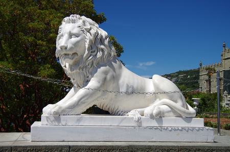 ALUPKA, CRIMEA-June, 2018: Sculpture Lion in Vorontsov Palace