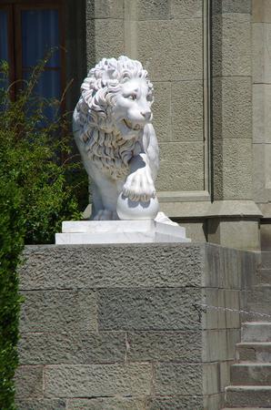 ALUPKA, CRIMEA-June, 2018: Sculpture Lion in Vorontsov Palace