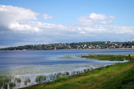 KOSTROMA, RUSSIA - July, 2016: Embankment of the Kostroma River in Kostroma