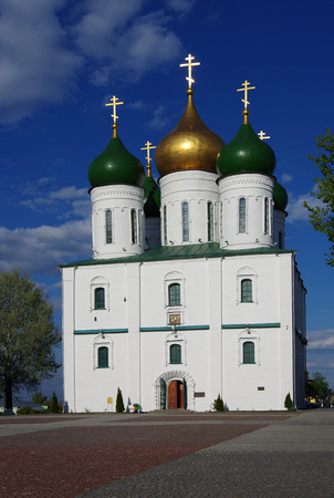 KOLOMNA, RUSSIA - May, 2017:  The ensemble of the buildings of the Cathedral square in Kolomna Kremlin