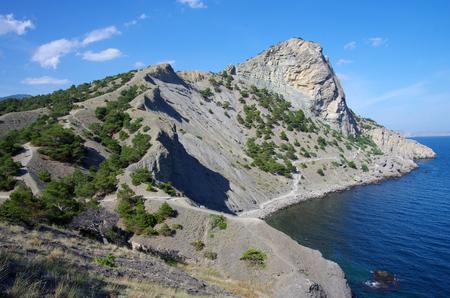 Golitsyn or Falcon trail, the most famous landmark of the village Novyi Svet in Crimea 版權商用圖片