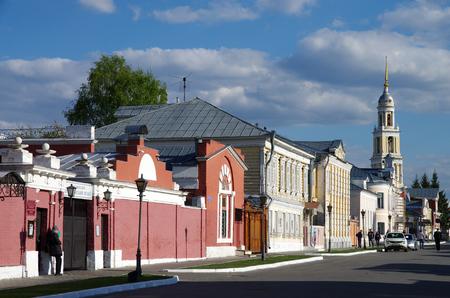 KOLOMNA, RUSSIA - May, 2017:  The old street Lazhechnikov in Kolomna, Moscow region