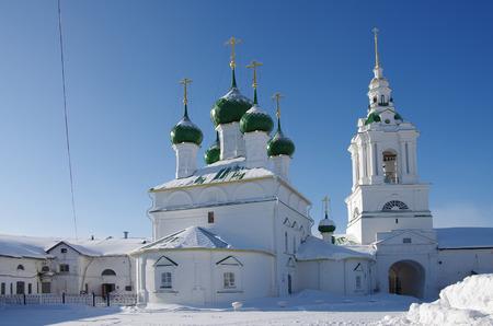 KOSTROMA, RUSSIA - February, 2018: The Gostiny Dvor  and Church of the Savior