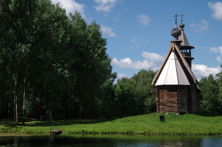 KOSTROMA, RUSSIA - July, 2016: Old wooden Church - monument of ancient Russian architecture
