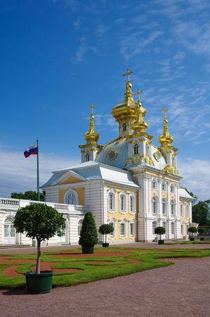 PETERHOF, RUSSIA - August, 2017: Palace church of Saint Peter and Paul in Peterhof Grand Palace 報道画像