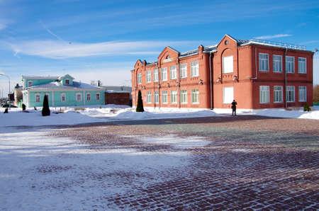 KOLOMNA, RUSSIA - February, 2019: School in the town in winter day