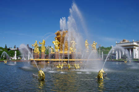 MOSCOW, RUSSIA - May, 2019: People's Friendship fountain at Exhibition Center in spring day Editoriali