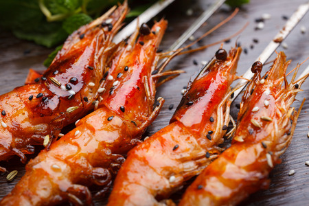 coal fish: China style barbecue, grilled shrimp Stock Photo