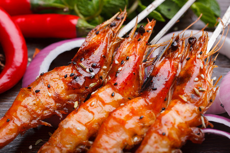 China style barbecue, grilled shrimp Banco de Imagens