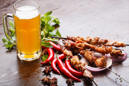 chinese dinner: China food, roast mutton and beer Stock Photo
