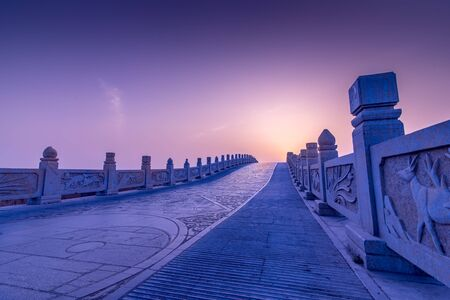 tai chi: Stone bridge in china, dragon and Tai Chi pattern Stock Photo
