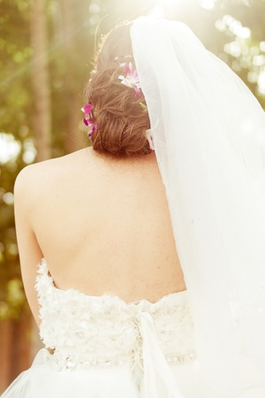 Chinese bride in  wedding dress back view Stock Photo