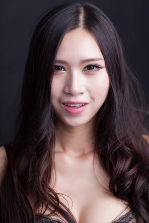Sexy Chinese woman wearing bras Stock Photo