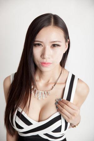 A beautiful asian girl, black hair Stock Photo
