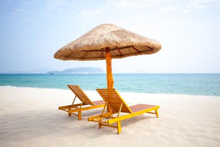Chairs on the beach, sunny
