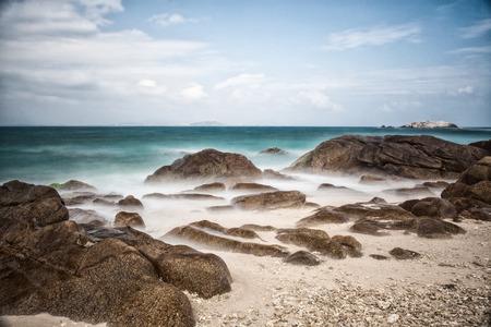 Chinese sea, off the coast of Wuzhizhou Island line Stock Photo