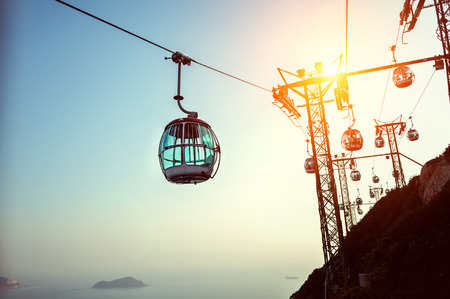Aerial cable car, Hong Kong Ocean Park Stock Photo - 30020985