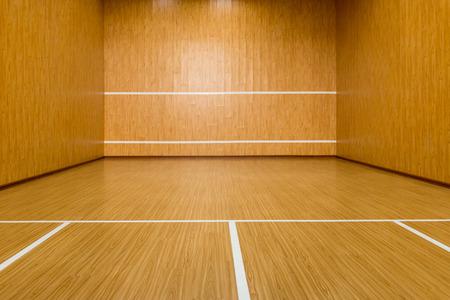 The squash court, pure wood floor
