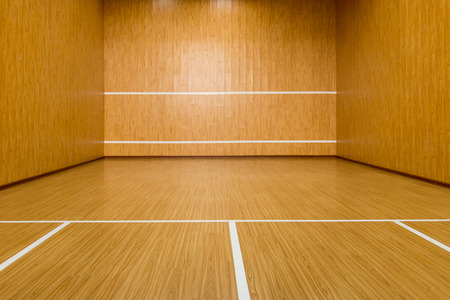 The squash court, pure wood floor