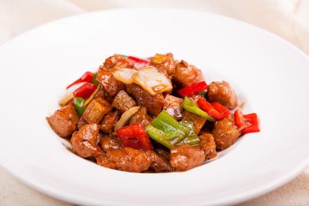 Chinese Food, put in the white porcelain plate