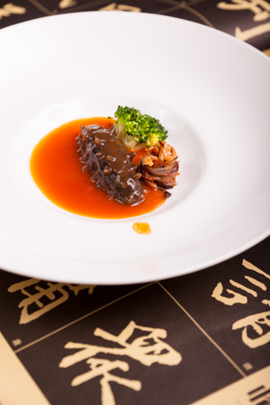 sea cucumber: China dishes, sea cucumber on the disk