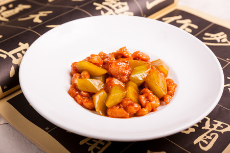 Chinese Food, put in the white porcelain plate photo
