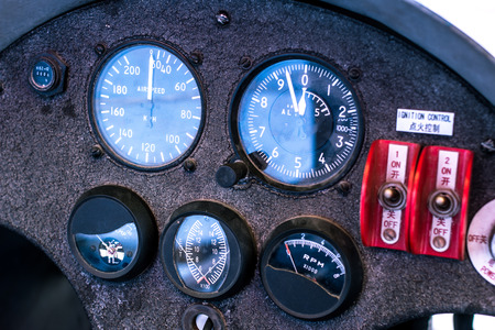 Vintage aircraft instrument, Chinese domestic aircraft, Chinese mark Stock Photo