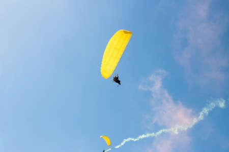 skydive: Parachute flight, air skydive, smoke bomb Stock Photo