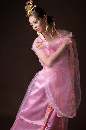 Chinese woman wearing traditional costumes Stock Photo