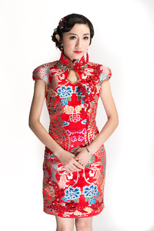 Chinese bride, white background studio shoot