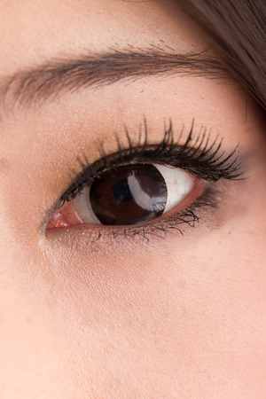 Asian women, beautiful brown eyes photo