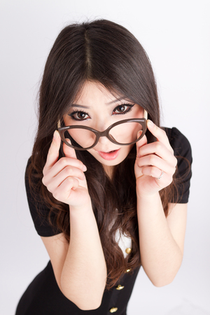 A beautiful Asian staff with business attire Stock Photo