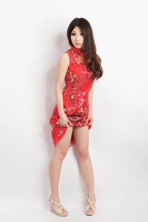 Chinese pretty girl wearing cheongsam