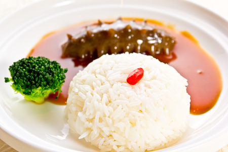 sea cucumber: Chinese dishes, rice and sea cucumber