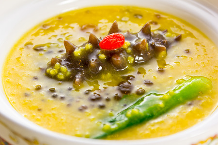 sea cucumber: Traditional Chinese food with Sea cucumber ,abalone, Millet, medlar