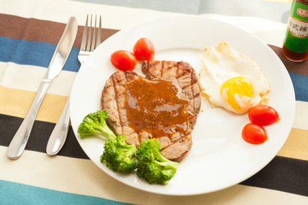 Western, steak and fried eggs photo