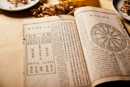 Ancient Chinese medical books in the Qing Dynasty, the Chinese herbal medicine on the table Редакционное