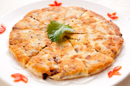 Delicious Chinese meat pie,On the white porcelain dish photo