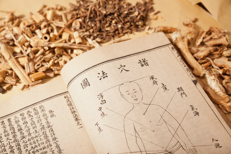 Ancient Chinese medical books in the Qing Dynasty, the Chinese herbal medicine on the table Redakční