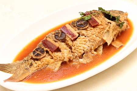 asian flavors: Braised carp Stock Photo