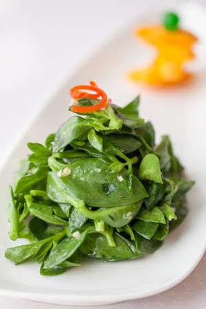 herbs wild: Comida china, las hierbas silvestres en un plato