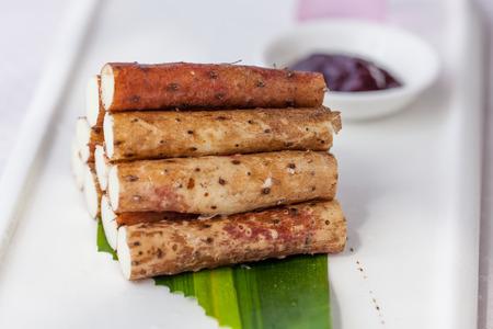 chinese yam: Chinese yam in white plate.