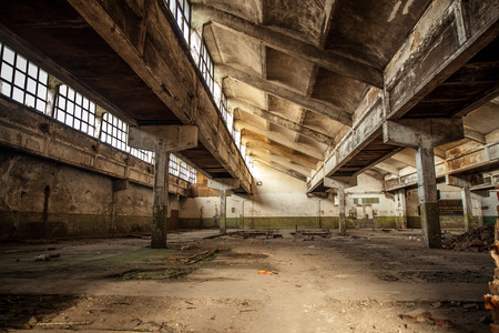 abandoned factory: Old factory buildings, spacious workshop Editorial