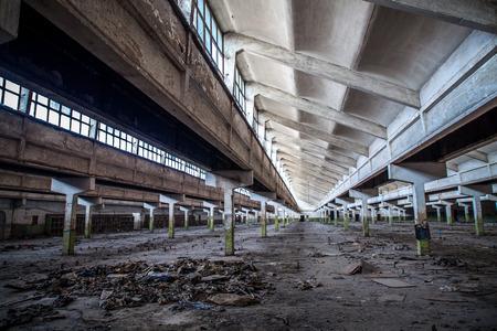 industry moody: Old factory buildings, spacious workshop Editorial