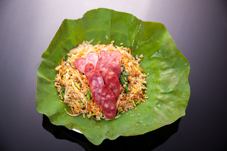 Asian food, the lotus leaf steamed rice photo