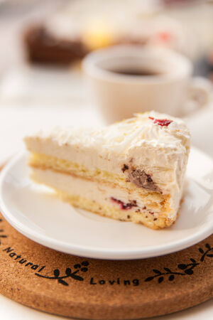 small cake: small cake, on the white plate, afternoon tea
