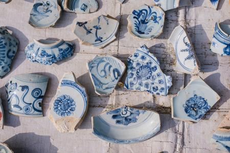 porcelain: Blue and white porcelain pieces, pieces of antique porcelain is very expensive.